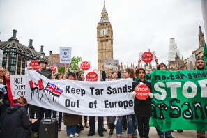 Fifty protesters at the UK Parliament respond to Canadian prime minister Stephen Harper's visit to lobby for tar sands imports into Europe, 2011. Photo Credit: Rajan Zaveri
