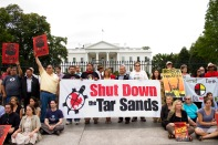 Members of the Indigenous Environmental Network at the front of a White House sit-in during the fourteen days of the Tar Sands Action, shortly before arrests, 2011. Photo Credit: Shadia Fayne Wood, Project Survival Media