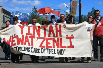 Members of the Wet'suwet'en Nation protesting all proposed pipelines that would cross unceded Wet'suwet'en lands, as part of the first annual Unist'ot'en Action Camp, 2010 in conjunction with the Ruckus Society and Indigenous Peoples Power Project. Photo Credit: Ben Powless
